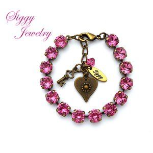 Swarovski Crystal Tennis Bracelet, 8mm Rose Pink